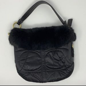 Coach Limited Edt Rabbit Fur Signature Quilted